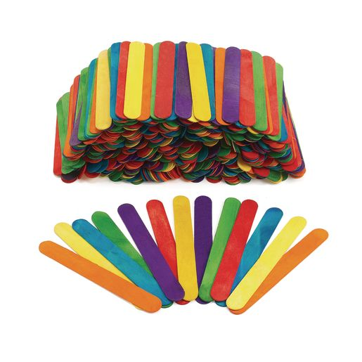 Image of Colorations Jumbo Colored Wood Craft Sticks - 500 Pieces