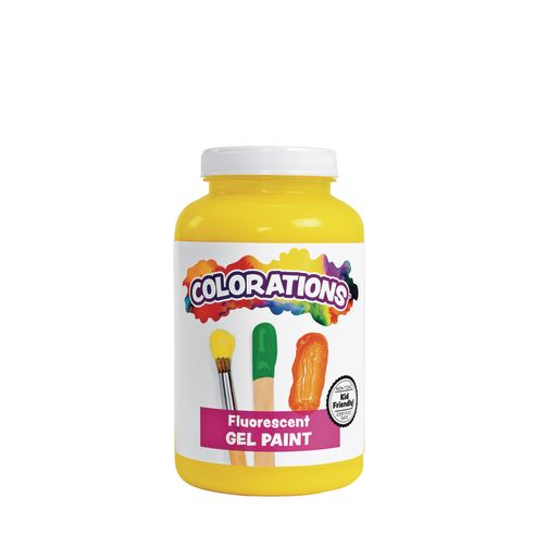 Image of Colorations Gel Paint, Fluorescent Yellow, 16 oz.