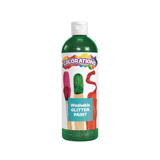 Image of Colorations Washable Glitter Paint, Green - 16 oz.