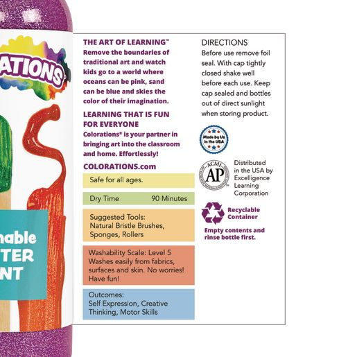 Colorations® Washable Glitter Paint, Blue - 16 oz.