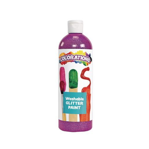 Image of Colorations Washable Glitter Paint, Purple - 16 oz.