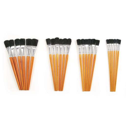 Image of Colorations Short Handle Wooden Easel Paint Brushes - Set of 24