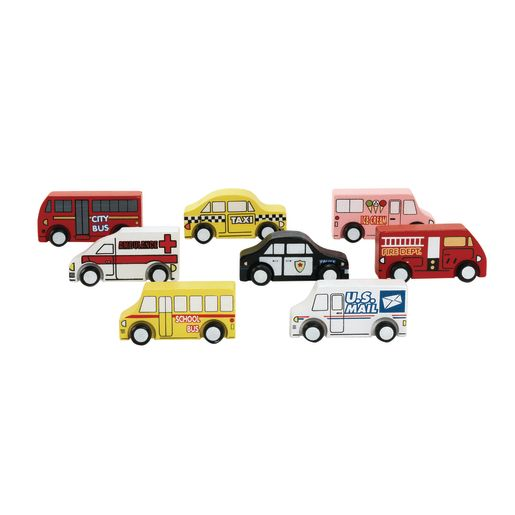 Excellerations® Wooden Play Trucks - Set of 8