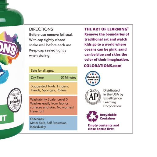 Colorations® Washable Finger Paint, Turquoise - 16 oz.