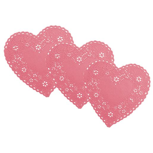 Image of Small Pink Heart Doilies, 4 -Pack of 100