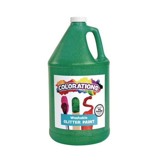 Image of Colorations Washable Glitter Paint, Green - 1 Gallon