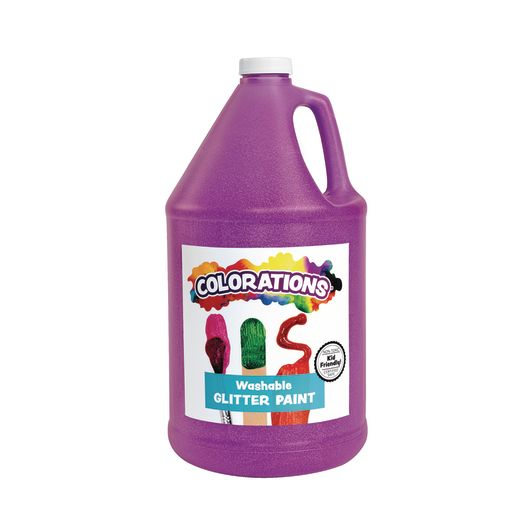 Image of Colorations Washable Glitter Paint, Purple - 1 Gallon