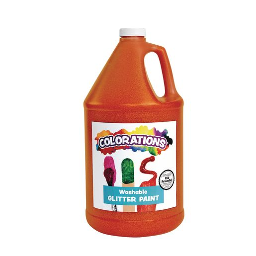 Image of Colorations Washable Glitter Paint, Orange - 1 Gallon