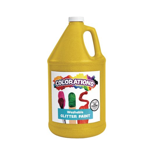 Image of Colorations Washable Glitter Paint, Yellow - 1 Gallon