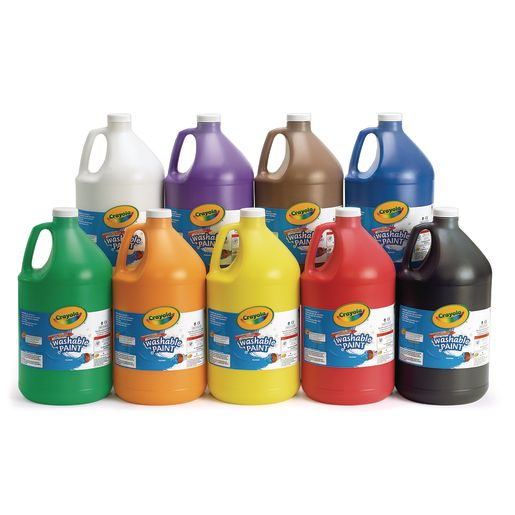 Set of 9 Crayola® Washable Paints, Gallons