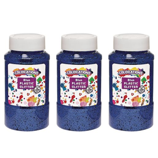 Image of Colorations Extra-Safe Plastic Glitter, Blue - 3 lbs.