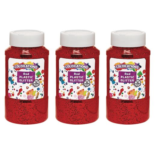Colorations® Extra-Safe Plastic Glitter, Red - 3 lbs.