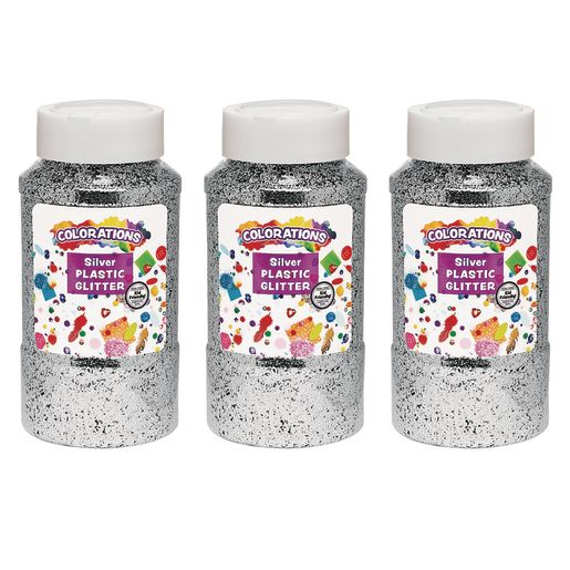 Image of Colorations Extra-Safe Plastic Glitter, Silver - 3 lbs.