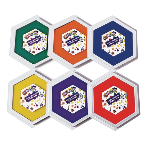 Colorations® Classic Colors Jumbo Washable Stamp Pads - Set of 6_0