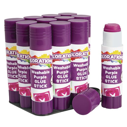 Image of Colorations Best-Value Washable Glue Sticks, Small (.32 oz.) - Set of 12 in Tray