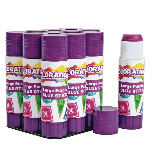 Colorations® Best-Value Washable Purple Glue Sticks, Large (.88 oz.), Set of 12 in a tray