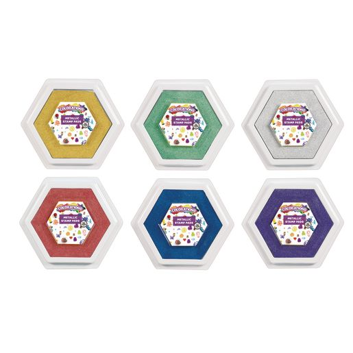 Image of Colorations Large Metallic Washable Stamp Pads, Set of 6