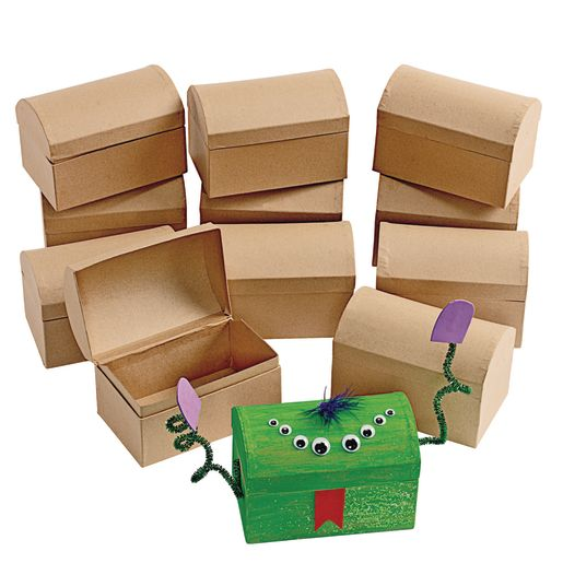 Colorations® Decorate Your Own Papier-Mâché Treasure Chests - Set of 12