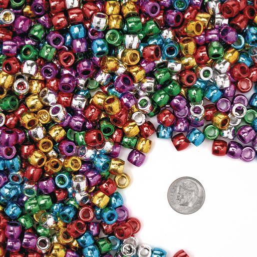 Colorations® Metallic Pony Beads - 1 lb.