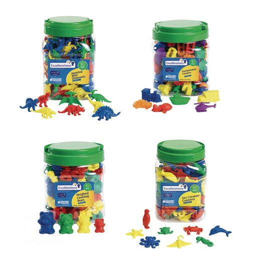 Image of Excellerations Math Manipulatives - 4 Different Sets, 424 Pieces Total