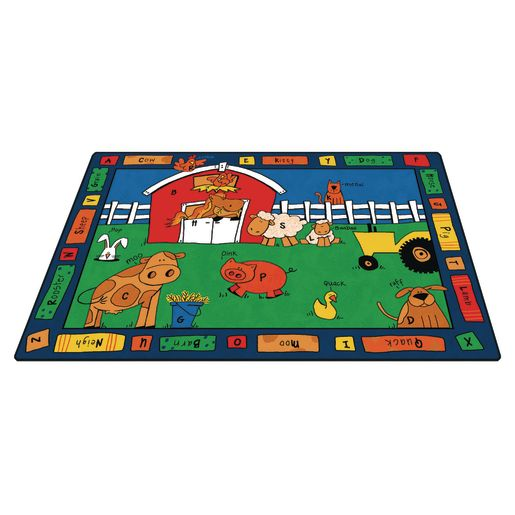 """Alphabet Farm 5'10"""" x 8'4"""" Rectangle Premium Carpet"""