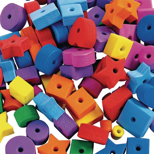 Image of Colorations Jumbo Fun Shapes Foam Beads - 500 Pieces