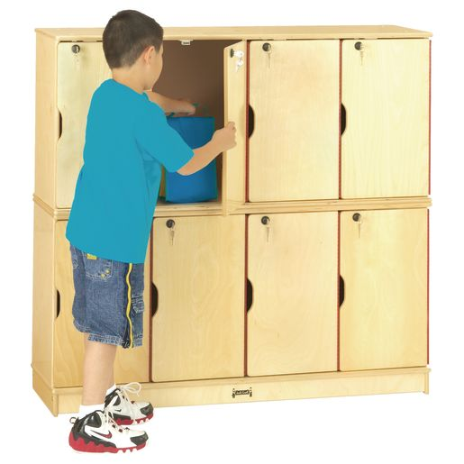 Image of Stacking Lockable Lockers- 4 Sections - 2 Levels