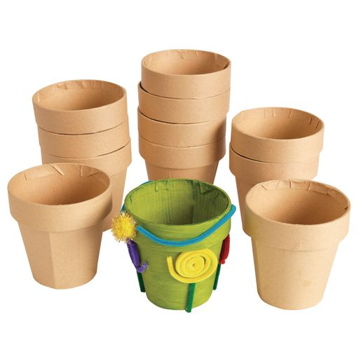 Colorations® Decorate your Own Paper Mache Flowerpots - Set of 12