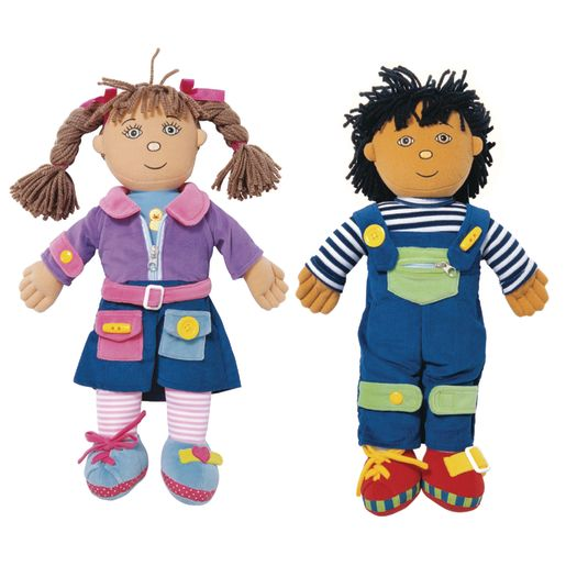 Image of Excellerations Boy and Girl Dressing Dolls - Set of 2