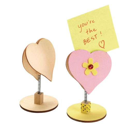 Colorations® Wooden Bobble Heart Note Holders - Set of 12