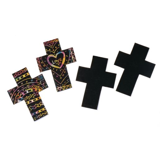 Scratch Board Crosses - 25 Pieces