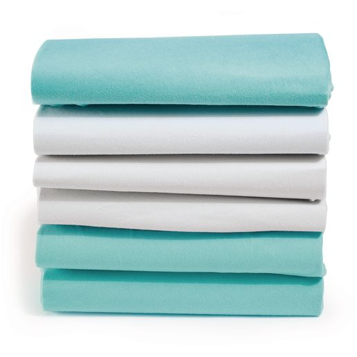 Image of Blue 100% Cotton Crib Sheets - Set of 12