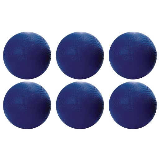 "10"" Blue Best Quality Rubber Playground Balls - Set of 6"