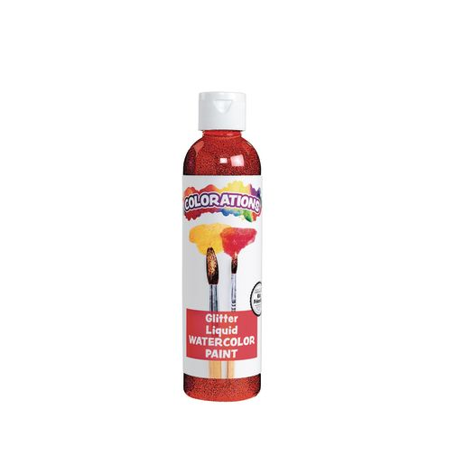 Image of Colorations Glitter Liquid Watercolor, Red - 8 oz.
