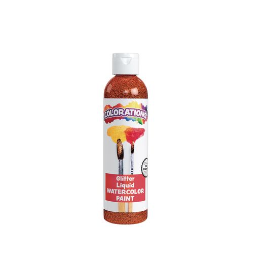 Image of Colorations Glitter Liquid Watercolor, Orange - 8 oz.
