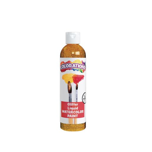 Image of Colorations Glitter Liquid Watercolor, Yellow - 8 oz.