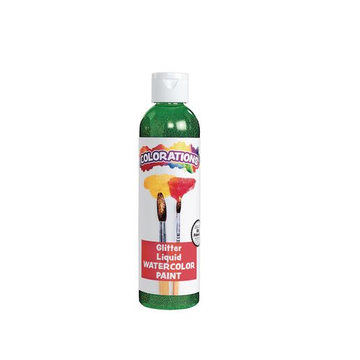 Image of Colorations Glitter Liquid Watercolor, Green - 8 oz.