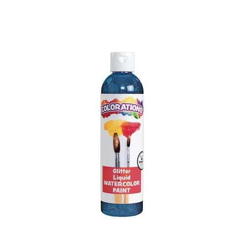 Image of Colorations Glitter Liquid Watercolor, Blue - 8 oz.