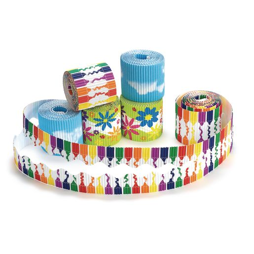 Bordette® Printed Border Rolls, Crayons, Clouds & Flowers - Set of 6