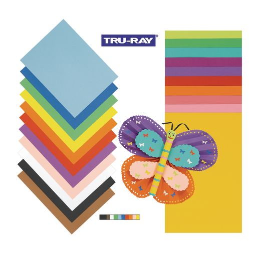 """Set of All 17 Assorted Colors 9"""" x 12"""" Tru-Ray® Sulphite Construction Paper"""