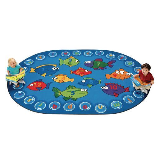 "Fishing for Literacy 6'9"" x 9'5"" Oval Premium Carpet"