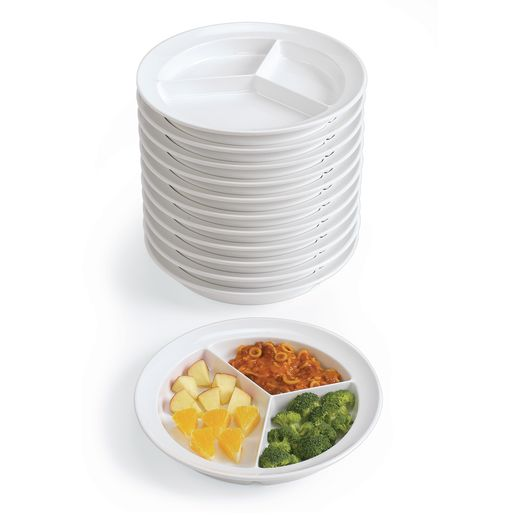 Three Compartment Plates - Set of 12