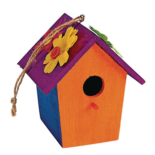 Image of Colorations Wooden Birdhouses - Set of 6