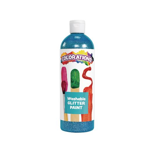 Image of Colorations Washable Glitter Paint, Turquoise - 16 oz.