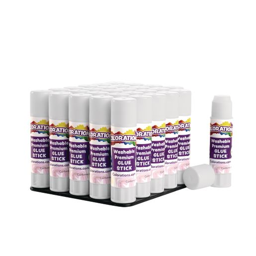 Colorations® Washable Premium White Glue Sticks, Set of 30, 0.32 oz ea