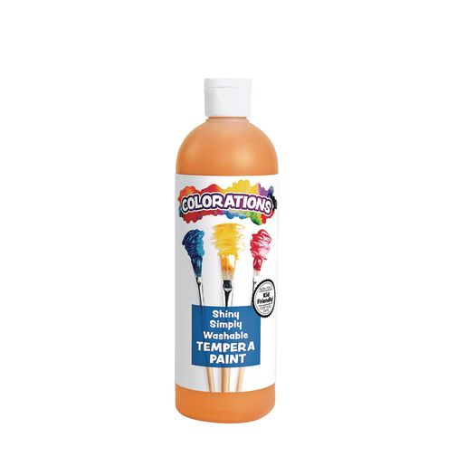 Image of Colorations Simply Shiny Washable Tempera, Orange - 16 oz.