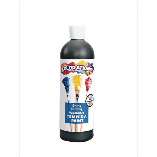 Image of Colorations Simply Shiny Washable Tempera, Black - 16 oz.