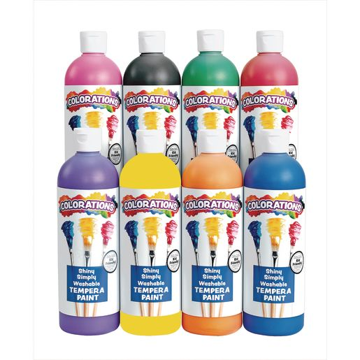 Image of Colorations Simply Shiny Washable Tempera, 16 oz. - Set of All 8