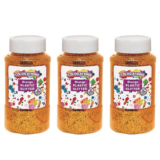Image of Colorations Extra-Safe Plastic Glitter, Orange - 3 lbs.