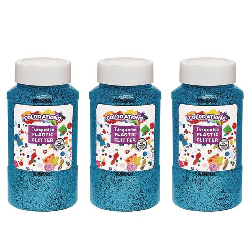 Image of Colorations Extra-Safe Plastic Glitter, Turquoise - 3 lbs.